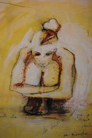 Le bruit des hommes me rappelle que je ne suis pas seule au monde technique mixte sur papier marouflé sur toile